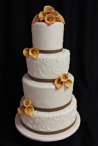 Mango Cala Lilies Fall Wedding Cake