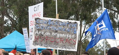 CON$ERVATIVE GOVERMENT$ (spelio) Tags: people house poster demo budget politics crowd protest july parliament flags demonstration canberra banners abbott act speeches getup 2014 australiancapitalterritory