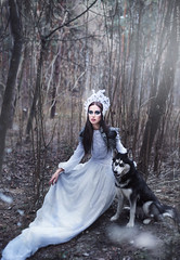 Winter Decadence (ravenajuly) Tags: winter wedding red white snow cold look fashion forest dark hair photography beads model husky long dress embroidery july accessories russian wolves decadence ravena headdress dods ravenajuly ravenaartcom