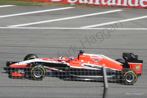Jules Bianchi in his Marussia in Free Practice 2 at the 2014 German Grand Prix