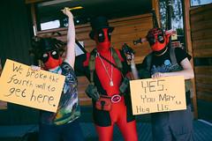 Three deadpools (mrksaari) Tags: portrait espoo finland costume cosplay event convention marvel con 2014 otaniemi ropecon dipoli deadpool d700 2470mmf28g