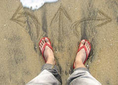 Decision [Explored] (Bhaskar Dutta) Tags: boy india man feet foot waves arrows decision indecisive