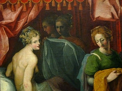 DUBREUIL Toussaint (et Atelier),1594-1602 - Hyante et Climène à leur Toilette (Louvre) - Detail 006 (L'art au présent) Tags: art painter peintre details détail détails detalles painting paintings peinture peintures 16th 16e peinture16e 16thcenturypaintings 16thcentury detailsofpainting detailsofpaintings tableaux peinturefrançaise frenchpaintings louvre paris france museum toussaintdubreuil toussaint dubreuil wash miroir mirror hair longhair cheveux cheveuxlongs servante servant handmaid room bedroom chambre bed lit figures people nakedwoman nakedwomen femmenue nuféminin nudity nudité bare nude femme woman women young jeunesfemmes amphore amphora rideaux fenêtre windows curtains