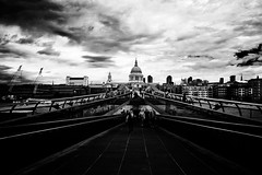 """Millenium Bridge & St Paul's Cathedral"" (helmet13) Tags: d800e raw bw people tourists sightseeing london unitedkingdom milleniumbridge stpaulscathedral riverthames city sky clouds travel building architecture aoi heartaward peaceaward 100faves world100f platinumpeaceaward"