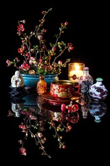A Hint of the Orient (memoryweaver) Tags: stilllife teacup tea cup memoryweaver candlelight candle snuffbottles flowers japanese chaenomeles quince orient