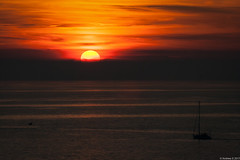 Sunset over the Adriatic Sea (Visualvalhalla) Tags: slovenia boat seagull balloffire piran sea