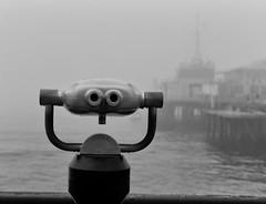 Eyes peering into the fog (ROSS HONG KONG) Tags: telescope pier santamonica santamonicapier ocean bay black white bw streetphoto blackandwhite noir blanc leica monochrom la losangeles fog foggy