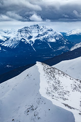 Mount Kerkeslin (robertdownie) Tags: trees canada forest mountains winter cold clouds rock snow mount mountain ice gray stormy mountaineering alberta rockies jasper bleak cornice