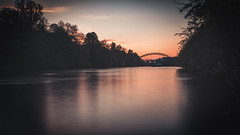 Fading Away (Thomas Paal Photography) Tags: river fluss regnitz bamberg franken franconia germany deutschland orange blue blau luitpold brücke bridge luitpoldbrücke silhouette bright light sunset sonnenuntergang fuji xt20