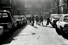 The Game Goes On Forever (Eddy Allart) Tags: futbol football voetbal voetballen soccer rotterdam dutch kids street straat calle analogue film trix rolleiflex sl35 bloemhof boys 1980 boudewijnstraat
