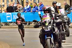Mary Keitany, who won easily (Geoff Henson) Tags: london keitany marathon womens winner canarywharf street motorbike bbc sport runner