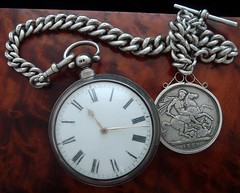"Impressive men's 1830 solid sterling silver chain-driven verge fusee by R. Roberts of London; accompanied by equally lofty chain and ""crown"" fob from a subsequent generation. Offered in an antique burl-wood box. (stricklandvintagewatches) Tags: pocket watch antique watches fusee with chain"