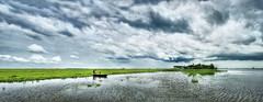 The little boatman and the little philosopher (Tanmay Shikder) Tags: bangladesh rain cloud green boat child wide water peace wind rainy reflection sky horizon kids line hyperfocal 1855 kit blue third tree home