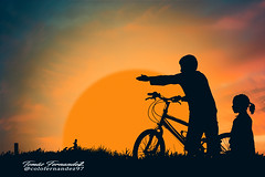 bicycle (tomásfernandez) Tags: bicicleta bicycle boy girl chico chica childhood infancia photoshop photography fotos landscape atardecer