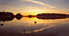 Loch Tarff Sunset.. (Scottish Mary Moo) Tags: sunset loch lochtarff sillhouette orange water reeds hills reflection sun lochness highlands scottish scotland landscape
