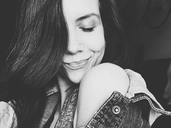shoulder (ashleemdunlap) Tags: iphone6s iphone 6s cellphone cell phone alien skin exposure x alienskin exposurex girl female shoulder woman jacket smile hair eyelid sweet nose ring nosering black white blackandwhite monochrome portrait people person human model