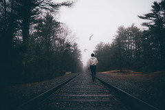 play nice or leave (lauren zaknoun) Tags: surreal surrealphotography conceptual conceptualphotography dark darkphotography darkart newengland fog ravens crows foggy weather witch witchy railroad laurenzaknoun