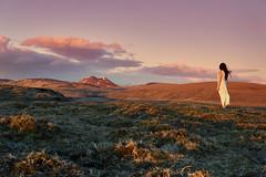 Self-Portrait, Iceland 2017 (amanecer334) Tags: iceland icelandic scandinavia landscape selfportrait self portrait woman girl dress wind mountains nature amazing world europe travel trip wild north cold sunset golden hour sunlight magic fantasy alone one person brunette sky clouds atardecer islandia