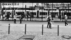 Reflected life (ANBerlin) Tags: fenster window trolly cablecar platz place drausen outdoor infrastruktur infrastructure zug train haltestelle platform strasenbahn tram flexity architektur architecture leute people spiegel mirror reflektion reflexion reflection städtisch urban abstrakt abstract ausergewöhnlich extraordinary einfarbig monochrome schwarzweis blackwhite biancoenero noiretblanc deutschland germany berlin mitte alex alexanderplatz anb030 shotoniphone iphotography iphonography 6splus iphone6s iphone apple