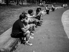 Lunch Line (votsek) Tags: 2017 charlesriver boston gf1 monochrome blackandwhite people eating food outdoor street