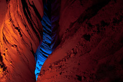 Crevasse Aglow (EBAUGHgraphy) Tags: caonon rebel eos t1i efs 1855 california night dark rigged rig neon long exposure orange blue canyon rock