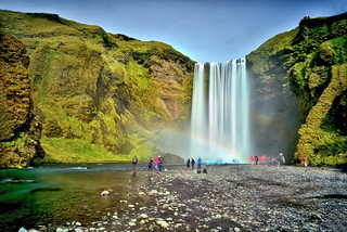 In the haze of Skogafoss
