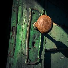 Behind the Green Door (Thomas James Caldwell) Tags: green door rust crust doorknob carrie furnace derelict abandoned america pennsylvania pittsburgh peeling paint peel