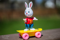 Rabbit on skateboard (nareshv.photography) Tags: sony stlouis sonya7ii macro missouri vivitar55mmf28automacro vivitar 55mm f28 auto msr minolta sr mount mirrorless a7ii manual focus wildwood ilce7m2 mk2 usa outdoor toy rabbit bunny easter easterbunny skateboard 21 funny cool bokeh