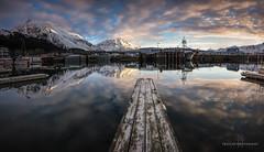 Lonely Slip (Traylor Photography) Tags: alaska spring sunrise cloudy reflection mountiains panorama sewardhighway boats sewardsmallboatharbor april seward unitedstates us