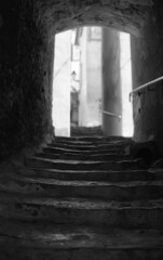 stairs tunnel (Tanya Skvortsova) Tags: street trip travel summer blackandwhite bw france film nikon cotedazur kodak tmax f100 analogue 135mm frenchriviera 2013