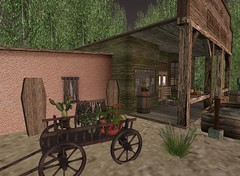 The Challenge | Western Wagon Cleo Design (Hidden Gems in Second Life (Interior Designer)) Tags: wild house west home wheel bar wagon design interior south western cart build saloon challenge the