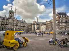 Dam revisited (Мaistora) Tags: life street leica blue sky people holland color colour tower clock tourism church netherlands amsterdam bike bicycle yellow skyline architecture clouds buildings square lens lumix colorful europe traffic post zoom pavement dam taxi traditional crowd bank tourist historic steeple pole panasonic spire cables wires dome colourful rickshaw popular hdr pse abnamro jordaan topaz lightroom align abn amro ultrazoom varioelmarit fz7 maistora ransport velorickshaw deghost multiexpoure oloneo yahoo:yourpictures=weather