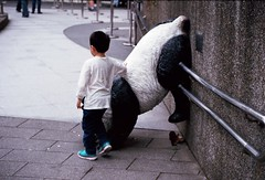 panda back (dahanpinus) Tags: people 35mm panda child taiwan ishootfilm gondola taipei nikonfe muzha maokong 135film analogfilm