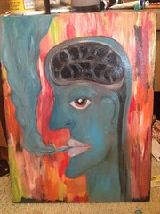 (hollilick) Tags: blue abstract colour art face painting paint artistic cigarette smoke brain smoking canvas oil oilpaint