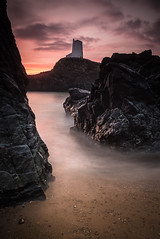Old Light House (Marc Clack) Tags: sunset red sea orange sun seascape water wales clouds sand nikon rocks long exposure d610 tamaron 24mm70mm