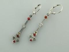 Org,grn,yel sapphire SS earrings