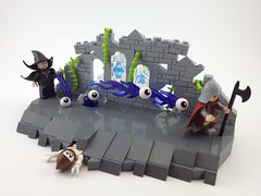 Never Insult a Wizard (A Plastic Infinity) Tags: old castle glass skeleton vines ruins rocks lego wizard lol guard theend evil s stained fantasy demonic epic eyeballs peasant awesomeness pwnage summoning nofrog
