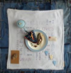 Gathering memories (Landanna) Tags: blue ceramics blauw heart handmade embroidery jeans denim bl borduren broderi gatheringmemories