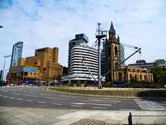 Liverpool (View of the Liverpool Mast & the city skyline,from St.Nicholas Place) (Netty 78) Tags: street city greatbritain england west church skyline architecture liverpool buildings hotel europe skyscrapers unitedkingdom unity towers north mast europeanunion merseyside 2014 beetham westtower newhallplace atlantictower stnicholasplace