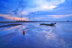 blue moment (Thunderbolt_TW) Tags: sunset sea sky sun reflection water windmill canon landscape taiwan     windturbine  changhua       hsienhsi  changpingindustryarea