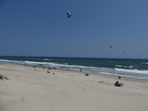 Kiteboarding, Cape Hatteras National Seashore, Outer Banks Between Hatteras and Frisco, North Carolina