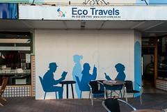 Time for Tea (Jocey K) Tags: street newzealand christchurch streetart detail building art architecture painting logo words mural shadows tiles tables shops coffeelovers cahirs newregentst gipfiller jeremysauzier capturingshadowsinshadesofblue