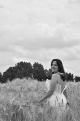 Wandering the field. (Azariel01) Tags: sky field bride blackwhite model dress sandra belgium belgique belgie robe wheat champs harvest ciel moisson ripen bl 2014 modle marie hainaut rcolte mr feluy
