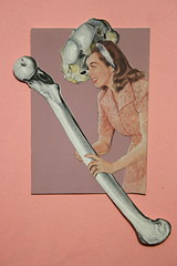 She had the right bones but the wrong measurements! (josephina54) Tags: atc collage skin bones theme kit kollage cutandpaste