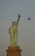 Statue of Liberty and helicopter (sblinn) Tags: park statue liberty newjersey jerseycity state nj helicopter jersey