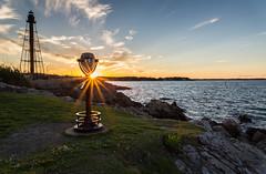 Sunset Sunburt at Marblehead Light (Kyle Maley Photography) Tags: ocean light sunset sun lighthouse beach landscape ma harbor solar nikon marblehead massachusetts ngc newengland rays fx nationalgeographic d610 sunburts pwpartlycloudy