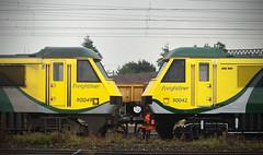 90049 & 90042 Crewe Basford Hall 19/07/2014 (Flash_3939) Tags: uk yard train july rail railway fresh crewe depot livery 2014 freightliner repaint class90 90049 90042 basfordhall powerhaul