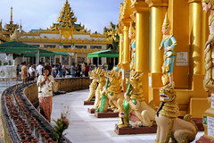 Shwedagon, Myanmar (Topoki) Tags: travel color colour building heritage tourism motif architecture temple design pagoda daylight shrine colorful asia day pattern cloudy outdoor space shwedagon yangon burma religion culture vivid buddhism myanmar colourful southeast paya maha copy pilgrimage rangoon pagode destinations pickbykc wizaya