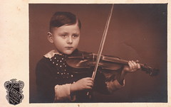 Kálmánka, 6 years old, with a violin by Aladár Székely (Saturday, 8 February 1936) (pellethepoet) Tags: boy portrait music europe hungary child kodak postcard photograph violin musicalinstrument szeged rppc realphotopostcard székely székelyaladár aladárszékely kálmánka