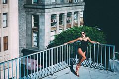 own it. (ericigonzalez) Tags: city roof red portrait urban woman art fashion female vintage photography la style lips heels leotard